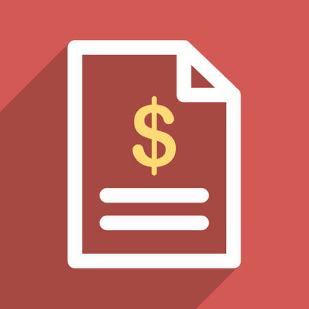 indent: Invoice Page long shadow glyph icon. Style is a flat light symbol with rounded angles on a red square background.