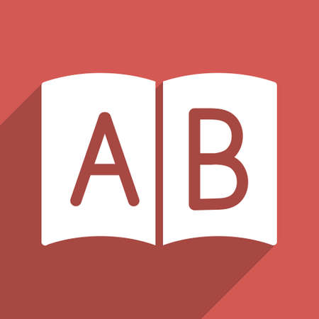 handbook: Open Handbook long shadow glyph icon. Style is a flat light symbol with rounded angles on a red square background.