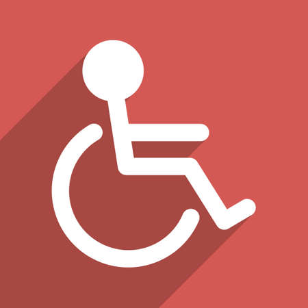 paralyze: Handicapped long shadow vector icon. Style is a flat light symbol with rounded angles on a red square background. Illustration
