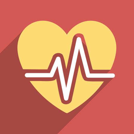 Corazón Diagrama Larga Sombra Del Icono Del Vector. El Estilo Es Un ...