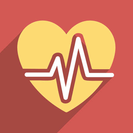 electrocardiograph: Heart Diagram long shadow vector icon. Style is a flat light symbol with rounded angles on a red square background.