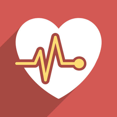 health care analytics: Heart Pulse long shadow vector icon. Style is a flat light symbol with rounded angles on a red square background. Illustration