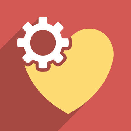 configure: Heart Surgery long shadow vector icon. Style is a flat light symbol with rounded angles on a red square background. Illustration