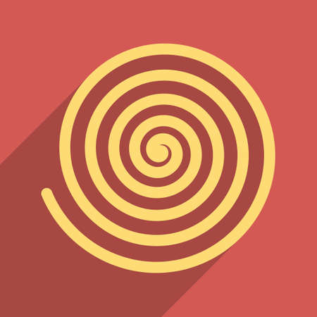 curl whirlpool: Hypnosis long shadow vector icon. Style is a flat light symbol with rounded angles on a red square background. Illustration