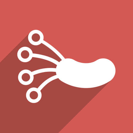ameba: Infection Microbe long shadow vector icon. Style is a flat light symbol with rounded angles on a red square background.