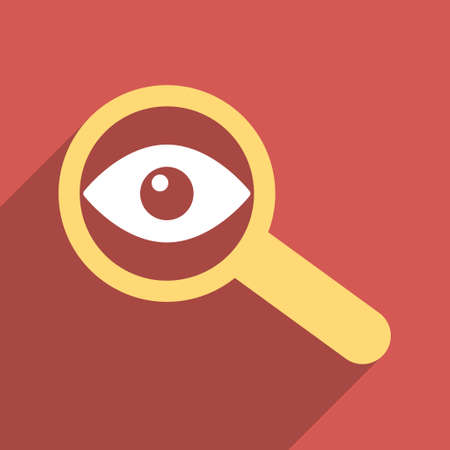 overlook: Investigate Vision long shadow vector icon. Style is a flat light symbol with rounded angles on a red square background.