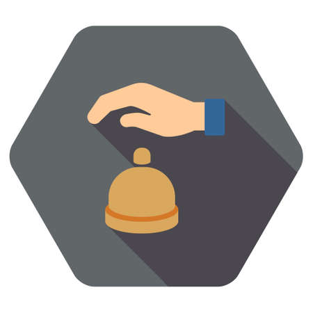 call bell: Reception Call Bell long shadow glyph icon. Style is a flat symbol on a colored rounded hexagon button with longshadow.