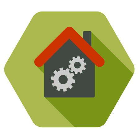workhouse: Workhouse long shadow glyph icon. Style is a flat symbol on a colored rounded hexagon button with longshadow.
