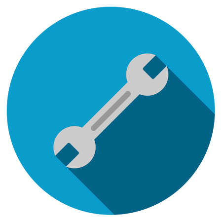 config: Wrench long shadow icon. Style is a flat symbol with rounded angles on a colored round button.