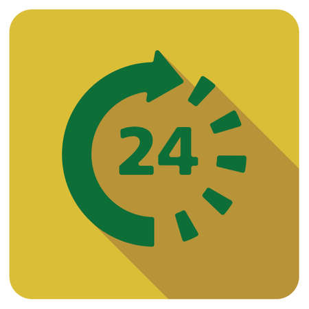 around the clock: Around The Clock long shadow vector icon. Style is a flat symbol on a colored rounded square button.