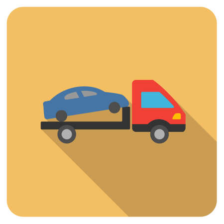 evacuation: Car Evacuation long shadow vector icon. Style is a flat symbol on a colored rounded square button.