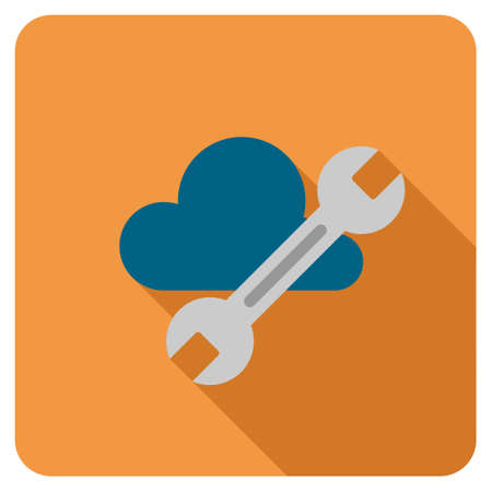 saas: Cloud Tools long shadow vector icon. Style is a flat symbol on a colored rounded square button.
