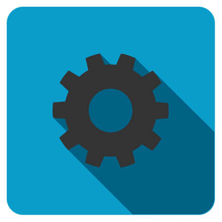 gear icon: Gear long shadow vector icon. Style is a flat symbol on a colored rounded square button.
