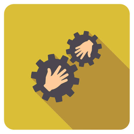 plugin: Gears Contact long shadow vector icon. Style is a flat symbol on a colored rounded square button.