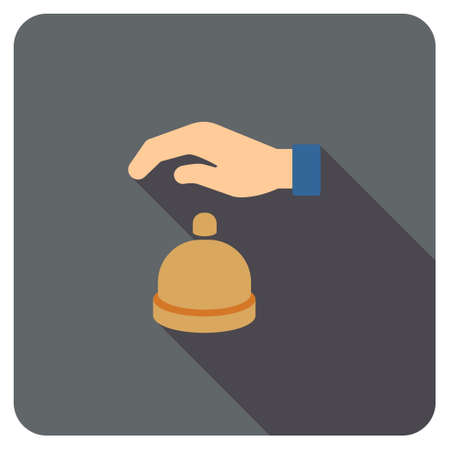 hotel lobby: Reception Call Bell long shadow vector icon. Style is a flat symbol on a colored rounded square button.