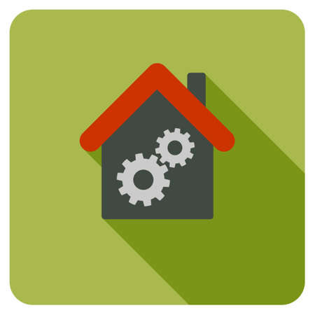 workhouse: Workhouse long shadow glyph icon. Style is a flat symbol on a colored rounded square button. Stock Photo