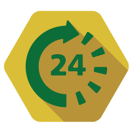 around the clock: Around The Clock long shadow vector icon. Style is a flat symbol on a colored rounded hexagon button with longshadow.