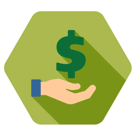 petition: Banking Service long shadow vector icon. Style is a flat symbol on a colored rounded hexagon button with longshadow. Illustration