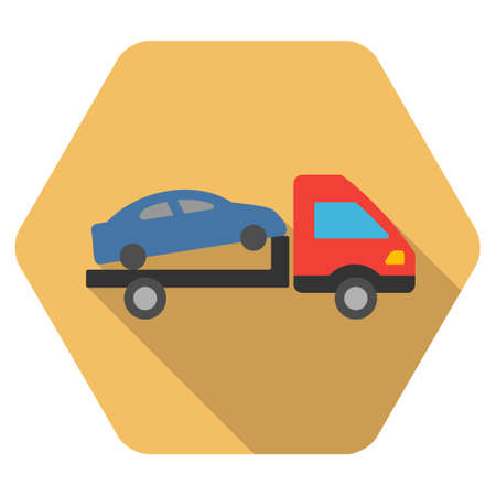 evacuation: Car Evacuation long shadow vector icon. Style is a flat symbol on a colored rounded hexagon button with longshadow. Illustration