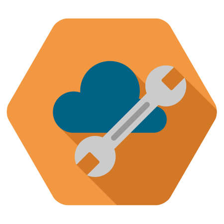 saas: Cloud Tools long shadow vector icon. Style is a flat symbol on a colored rounded hexagon button with longshadow. Illustration