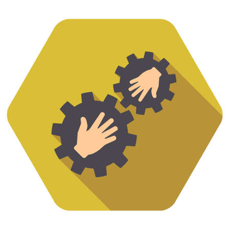 plugin: Contact Gears long shadow vector icon. Style is a flat symbol on a colored rounded hexagon button with longshadow.