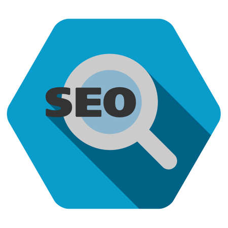 focus on shadow: Seo long shadow vector icon. Style is a flat symbol on a colored rounded hexagon button with longshadow.