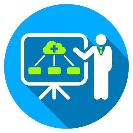 health care analytics: Health Care Structure Report long shadow icon. Style is a light flat symbol with rounded angles on a blue round button. Stock Photo
