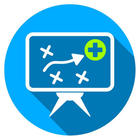 health care analytics: Health Strategy Screen long shadow icon. Style is a light flat symbol with rounded angles on a blue round button. Stock Photo