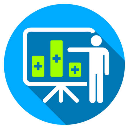 health care analytics: Medical Bar Chart Presentation long shadow icon. Style is a light flat symbol with rounded angles on a blue round button. Stock Photo