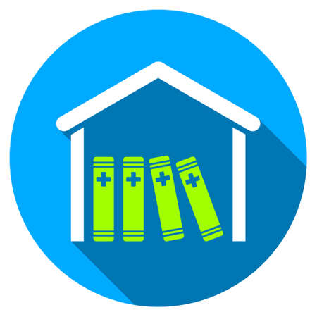 periodicals: Medical Library long shadow icon. Style is a light flat symbol with rounded angles on a blue round button. Stock Photo