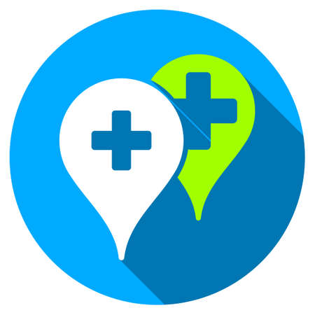 navigation aid: Medical Map Markers long shadow icon. Style is a light flat symbol with rounded angles on a blue round button. Stock Photo