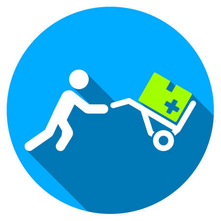 emergency cart: Medical Shopping long shadow icon. Style is a light flat symbol with rounded angles on a blue round button.