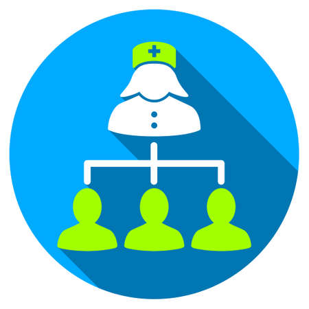 patients: Nurse Patients Connections long shadow icon. Style is a light flat symbol with rounded angles on a blue round button.