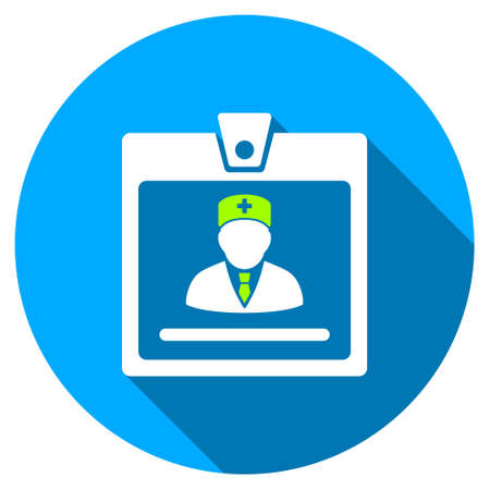 attest: Doctor Badge long shadow icon. Style is a light flat symbol with rounded angles on a blue round button. Illustration