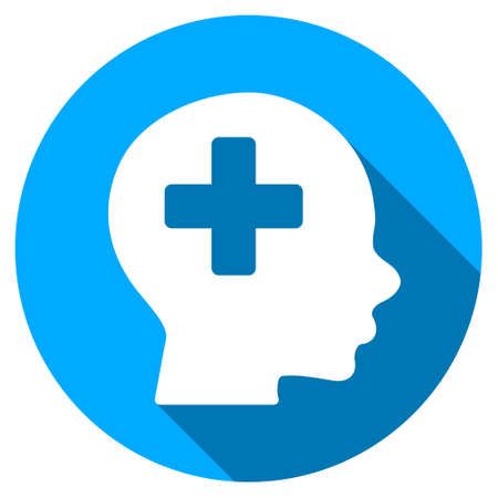 icon buttons: Head Medicine long shadow icon. Style is a light flat symbol with rounded angles on a blue round button. Illustration