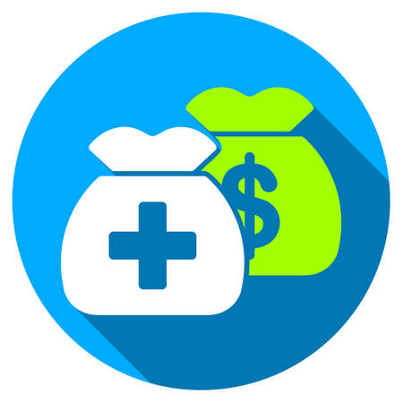 health care funding: Health Care Funds long shadow icon. Style is a light flat symbol with rounded angles on a blue round button. Illustration