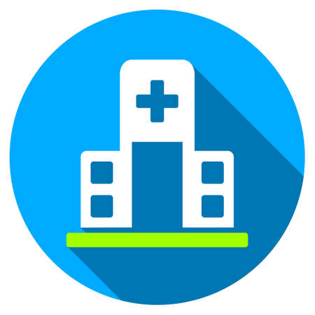 polyclinic: Hospital Building long shadow icon. Style is a light flat symbol with rounded angles on a blue round button. Illustration