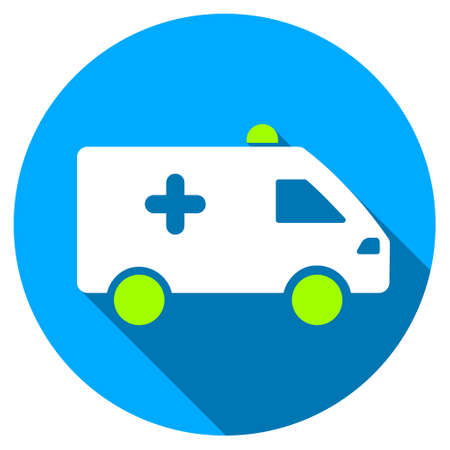 rescue circle: Hospital Car long shadow icon. Style is a light flat symbol with rounded angles on a blue round button.