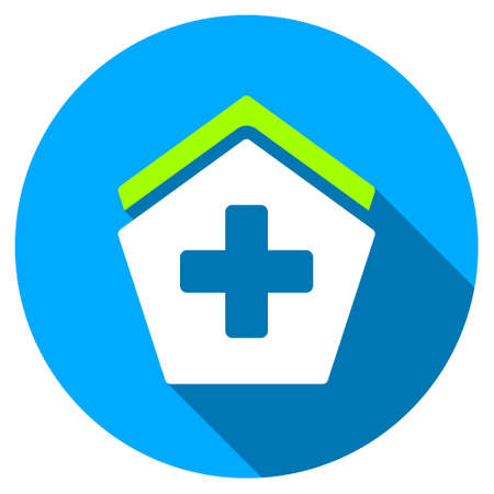 polyclinic: Hospital long shadow icon. Style is a light flat symbol with rounded angles on a blue round button. Illustration