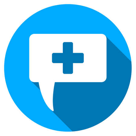 monologue: Medical Answer long shadow icon. Style is a light flat symbol with rounded angles on a blue round button.