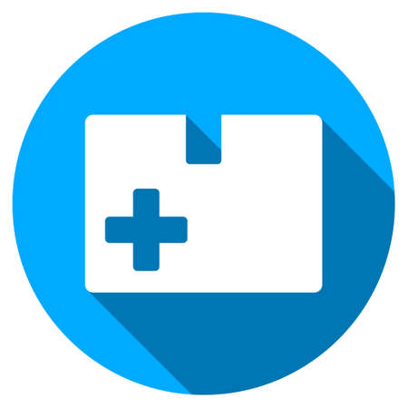 medical box: Medical Box long shadow icon. Style is a light flat symbol with rounded angles on a blue round button.