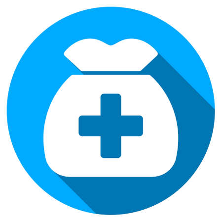 health care funding: Medical Capital long shadow icon. Style is a light flat symbol with rounded angles on a blue round button.