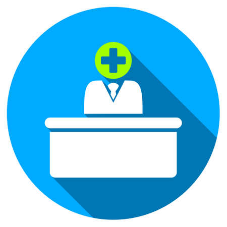 bureaucrat: Medical Bureaucrat long shadow icon. Style is a light flat symbol with rounded angles on a blue round button. Illustration