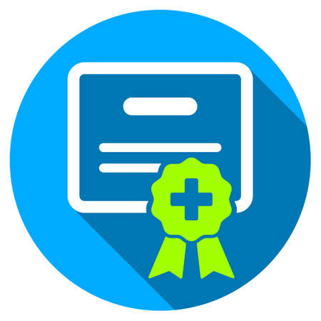 Medical Certification long shadow icon. Style is a light flat symbol with rounded angles on a blue round button. Illustration