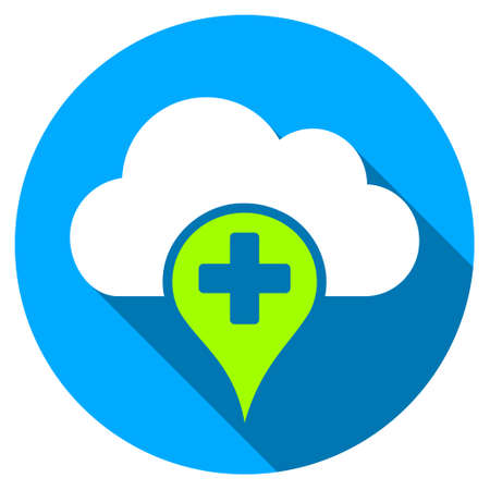 dropbox: Medical Cloud long shadow icon. Style is a light flat symbol with rounded angles on a blue round button.