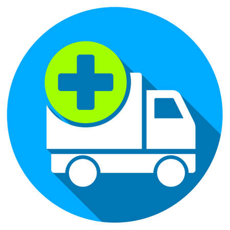Medical Delivery long shadow icon. Style is a light flat symbol with rounded angles on a blue round button.