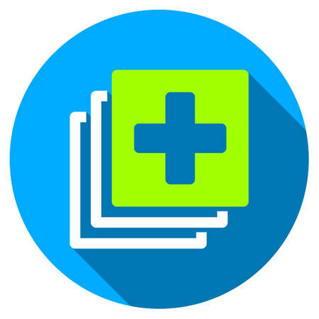 Medical Documents long shadow icon. Style is a light flat symbol with rounded angles on a blue round button.