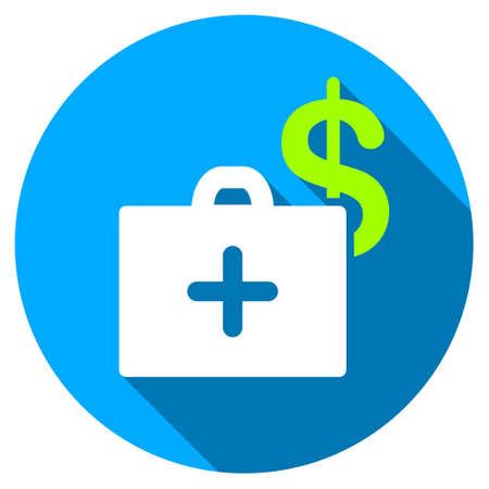 doctor with dollars: Medical Fund long shadow icon. Style is a light flat symbol with rounded angles on a blue round button. Illustration