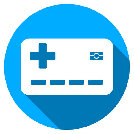 medical insurance card long shadow icon style is a light flat symbol with rounded angles