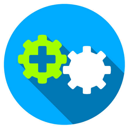 gear box: Medical Process long shadow icon. Style is a light flat symbol with rounded angles on a blue round button.